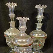 3pc Bristol Glass Cologne,Perfume Bottle,Powder Jar Set