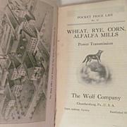 Early 1900's, The Wolf Company Catalog.. Wheat, Rye, Corn, Alfalfa Mills..Power Transmission,