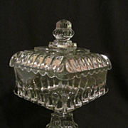 "EAPG Adams Crystal Wedding 13 1/4"" Covered Compote"