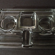 Glass Double Inkwell and Pen Holder, Frank A Weeks Mfg Co