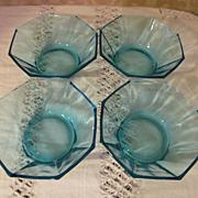 4 Hazel Ware Blue Capri Octagonal Bowls