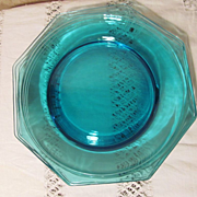 4 Hazel Ware Blue Capri Octagonal Dinner Plates