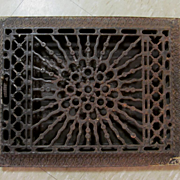 1886 Cast Iron Sunburst Floor Wall Complete Heat Register + 1 More