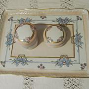 Hand Painted 5pc, Jars, Tray Vanity Set, B & Co, France