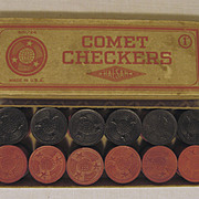 SOLD Comet Wood Checkers with Box by Halsam