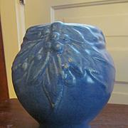 Blue Nelson McCoy Pottery Leaf and Berry Vase