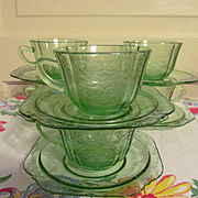 Six Green Depression Madrid Cups and Saucers by Federal