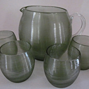 Czecho Threaded Pitcher, 4 Tumblers