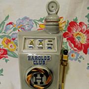 SOLD 1968 Advertising Harold's Club, Reno Nevada Casino Slot Machine Beam Bottle, Regal China