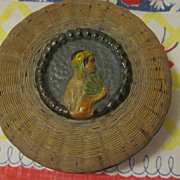 Old Chinese Sewing Basket with Portrait