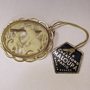 Paris France,Les Creations Celluloid Bear Brooch with Tag