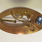 """Art Nouveau 3 3/4"""" Brooch,Blue Stone,C Clasp"""
