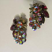 Shimmering Ruby & Aurora Rhinestone Clip Earrings