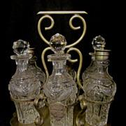 Lovely 6 Castor,Pattern Glass, Presentation Set, EPNS