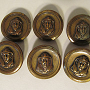 6 Brass Egyptian Revival Buttons
