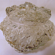 SOLD Goofus Glass Rose Powder Jar