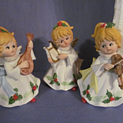 3 Homco Musical Christmas Angels with Foam Box