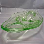 Vintage Czech Uranium Glass Art Glass Dish