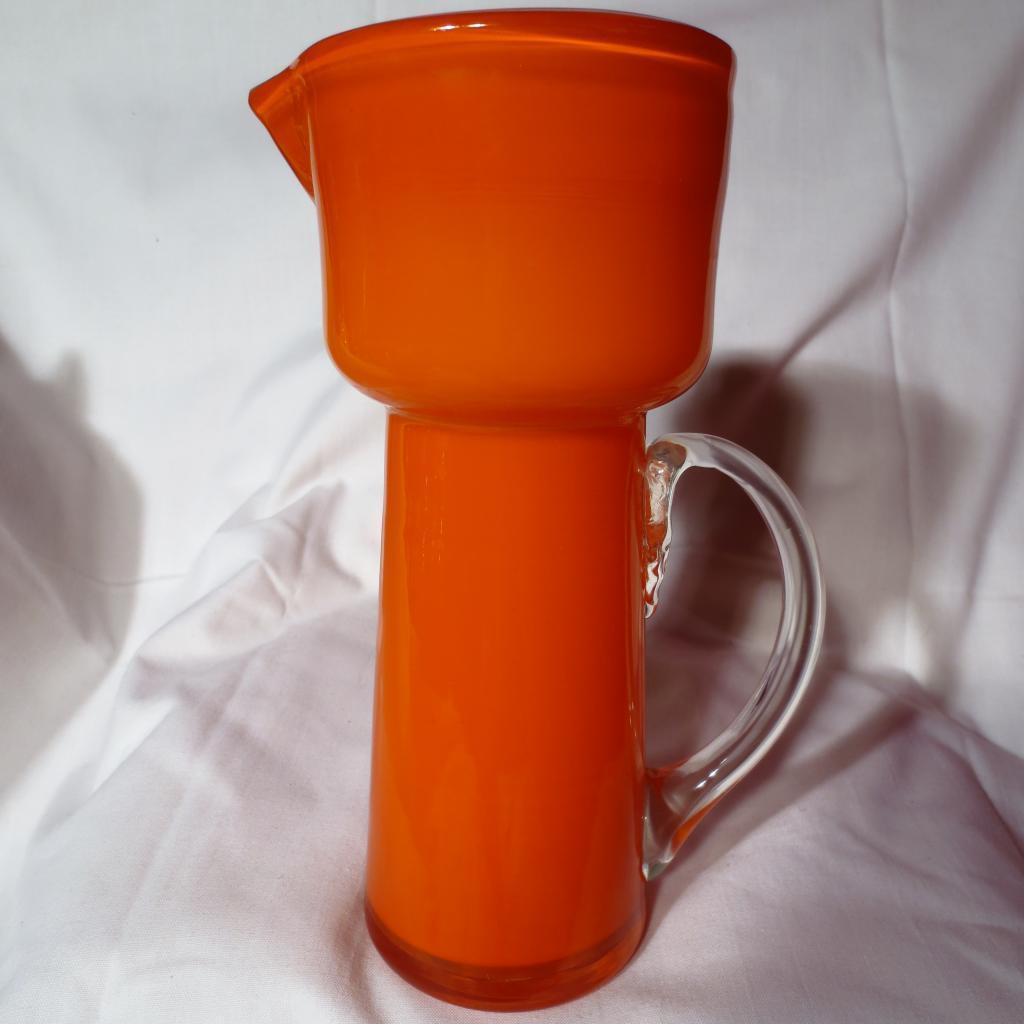 Mid-Century Orange Cased Glass Pitcher