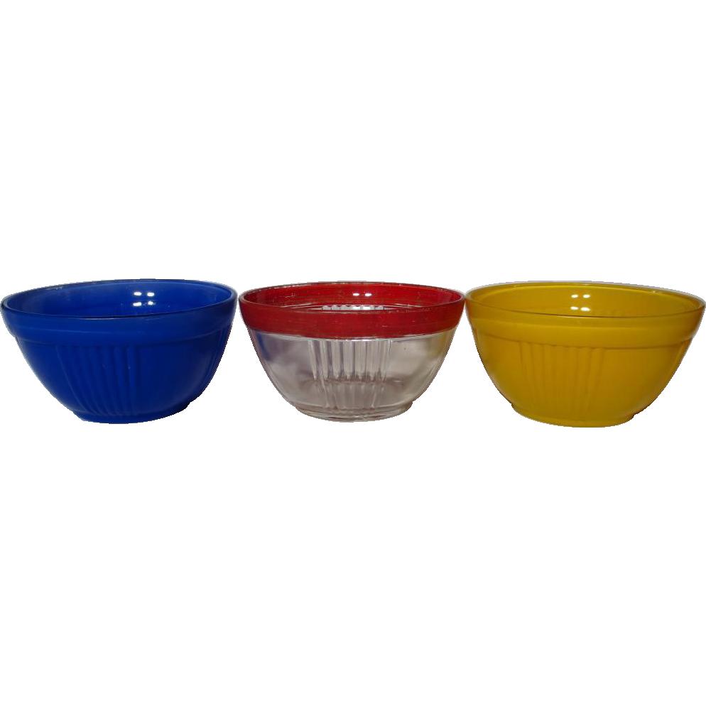 Vintage Hocking Fired On Color Ribbed Bowls