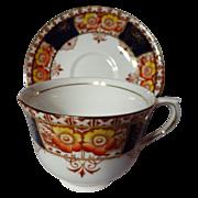 Vintage Colclough Imari Cobalt Blue Poppies Tea Cup Pair