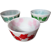 Vintage Trio Hazel Atlas Red Maple Leaf & Green Ivy Breakfast Bowls