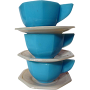 Vintage Akro Agate Child's Large Octagonal Cup & Saucer Set - 3 Available