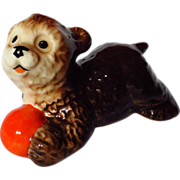 Goebel Brown Bear Playing With Ball Figurine