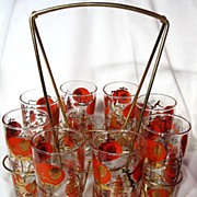 Vintage 1950's Dominion Glass Carrier And Tumblers
