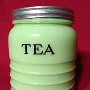 Jeannette Jadite Ribbed Tea Canister