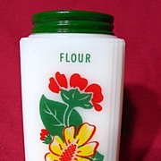 Tipp City Yellow Daisy With Red Geranium Milk Glass Flour Shaker