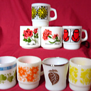Group Of 8 Fire King Flower Mugs