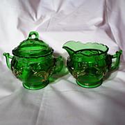 EAPG Heisey Winged Scroll Emerald Green Creamer And Covered Sugar