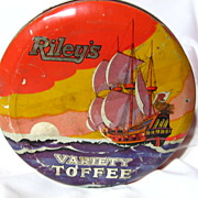 Vintage 1930's 1 1/2Lb Riley's Clipper Ship Toffee Tin