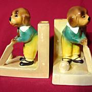Vintage 1930's Czech Lustreware Cricket Dog Bookends
