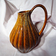 Vintage Medalta Sunburst Ceramics Fat Lava Pitcher Vase