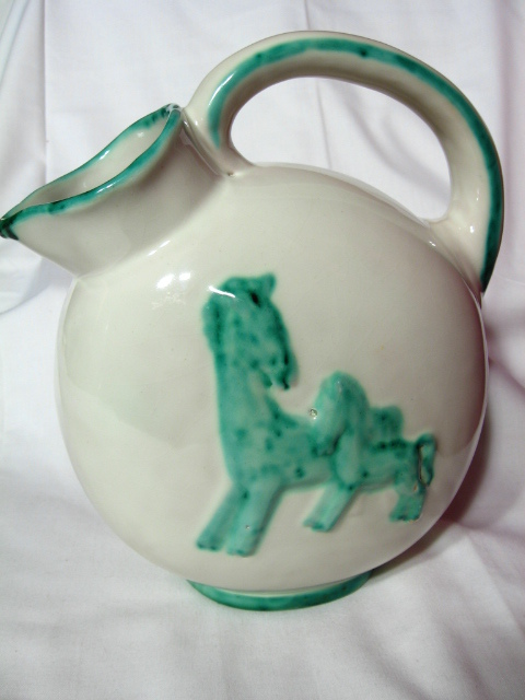Maioliche Deruta Horse And Foal Majolica Pitcher ~1920's