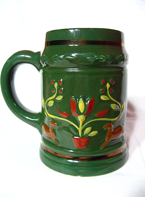 Early Pennsylvania Dutch Potteries of Ohio Hand Painted Stein