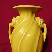 Vintage 1940's McCoy Flower Form Handled Swirl Vase