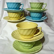 Medicine Hat Pottery Swirled Cup And Saucer ~ 6 Available