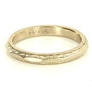 Vintage 14 Karat White Gold Wedding Band Stack Ring Fine Estate Jewelry Used 6.5