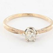 Vintage Art Deco 14 Karat Yellow Gold Cushion Diamond Engagement Ring Estate Bridal 5