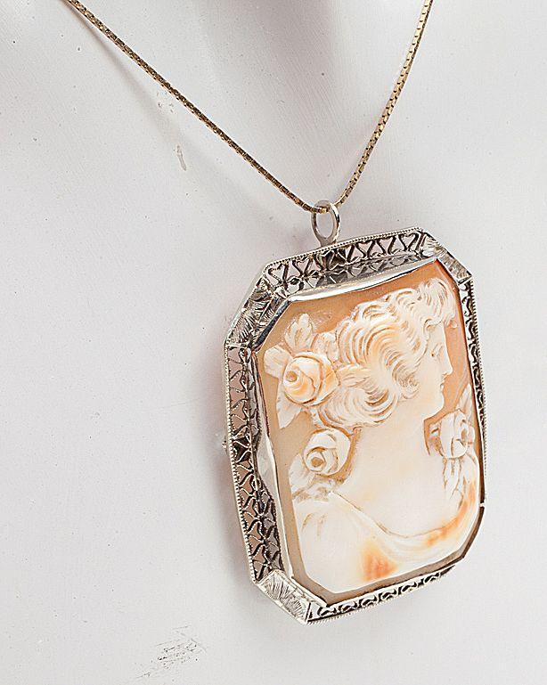 Art Deco 14 Karat White Gold Cameo Pendant Brooch Pin Vintage Old