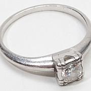 Vintage 900 Platinum Diamond Engagement Ring Estate Jewelry