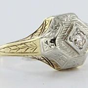 Art Deco 14 Karat Yellow White Gold Diamond Ring Vintage Fine Jewelry Heirloom Old