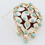 Vintage 14 Karat Yellow Gold Turquoise Enamel Pendant Brooch Pin Estate Fine Jewelry