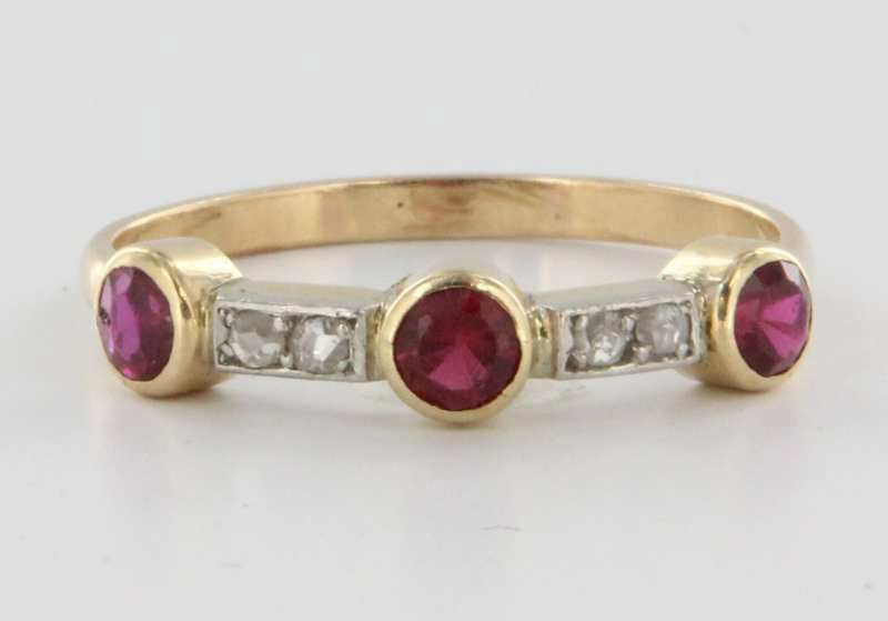 Vintage 14 Karat Yellow Gold Diamond Ruby Stack Band Ring Estate Fine Jewelry Pre Owned 7