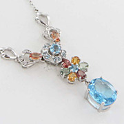 Estate 10 Karat White Gold Topaz Citrine Amethyst Garnet Cross Drop Necklace Jewelry