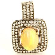 Estate 14 Karat White Gold Natural Opal Diamond Large Cocktail Pendant Enhancer
