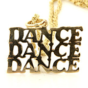 Vintage 14 Karat Yellow Gold Dance Pendant Necklace Fine Estate Jewelry